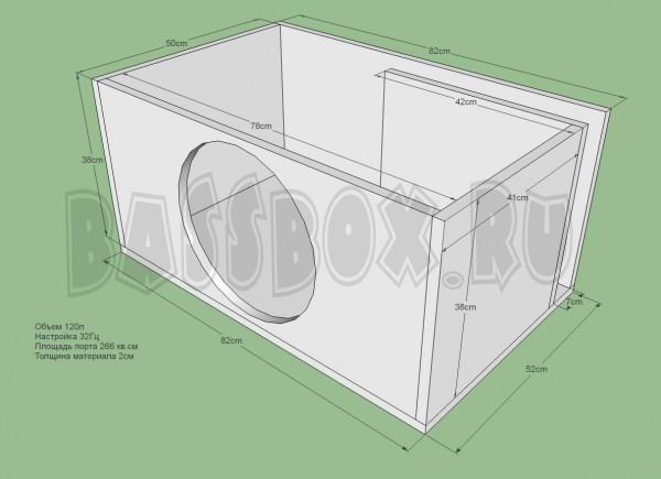Короб под саб 15 дюймов чертеж